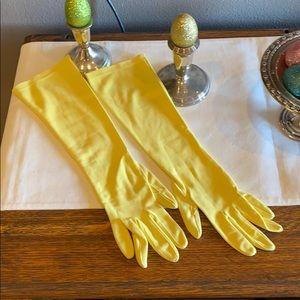 Vintage yellow opera length gloves size 7 1/2